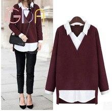 GDA.Free Shipping 2016 Women's Sweater New European Oversized Long Sleeved Loose Female Two- false Sweater Plus Size 5XL B