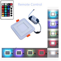 AC 110V 220V 6w 9w 16w 24W White RGB Square LED Panel Light And Remote Control