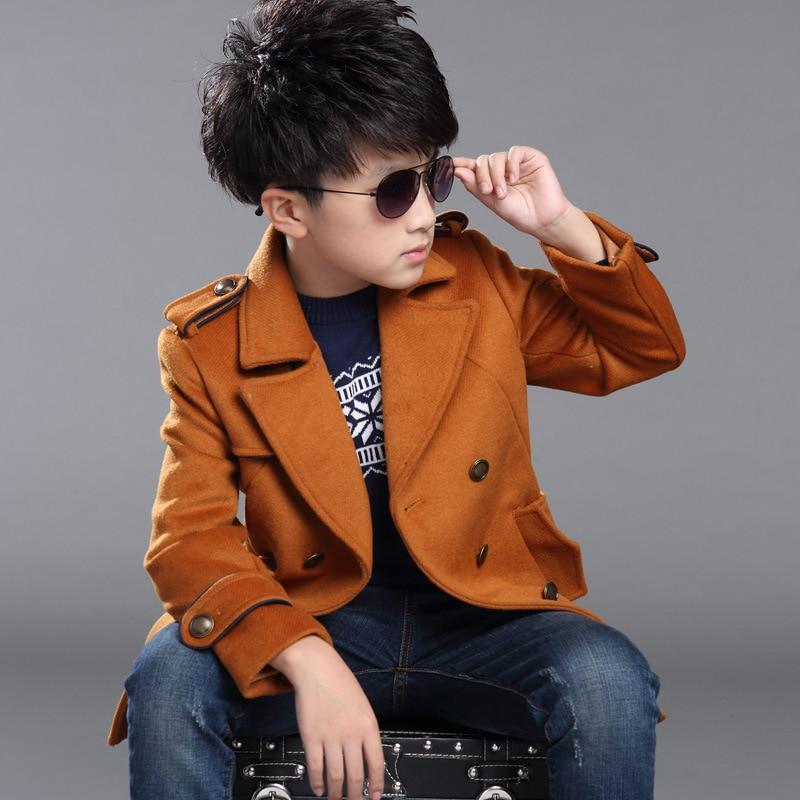 ФОТО 2015 New Design Boys Winter Coat, Woolen Long Kids Overcoat, Jacket For Boys, Thick Children Trench Boys