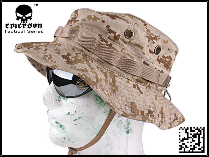 EMERSON Boonie Hat Camouflage Hat Military Tactical Army Hunting Hat Anti-scrape Grid Fabric Desert Digital EM8552