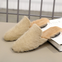 Rabbit Fur Mules Slippers Flat Women Shoes Fashion Fluffy Slides Comfortable Fuzzy Plush Black Khaki Slippers Sexy Ladies Shoes