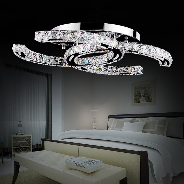 Free Shipping 2016 LED Crystal Double C Ceiling Living Room Bedroom Luxury Hotel Project Clear Light