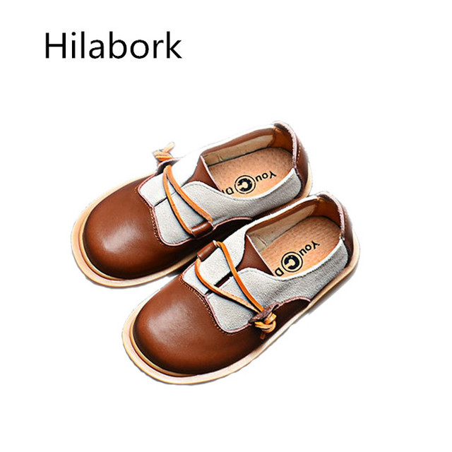 2017 spring and autumn new boys casual shoes girls leather coloring rubber bottom shoes fashion wild frosted leather shoes