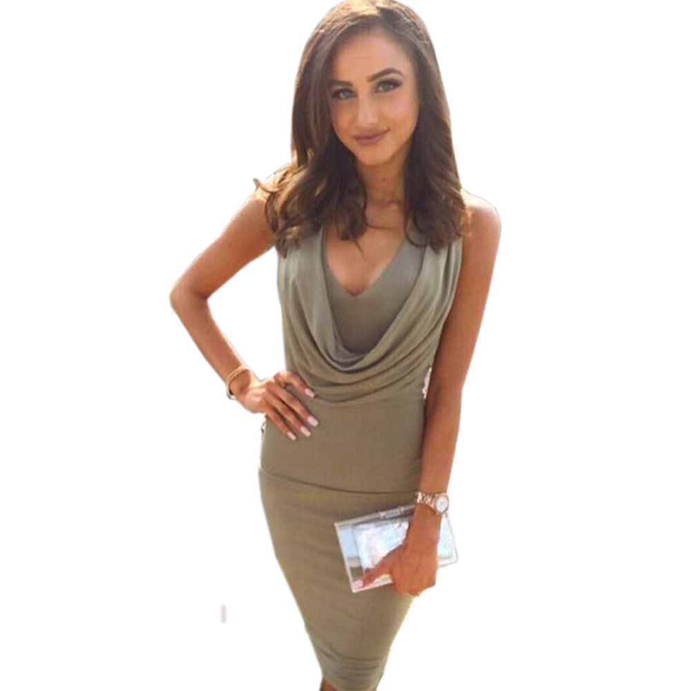New Arrival Sexy Sleeveless Bandage Dress Blue White Apricot Low Cut Tight  Midi Short Robe Vestidos Sexy Club Party Dress-in Dresses from Women s  Clothing ... db472fb88