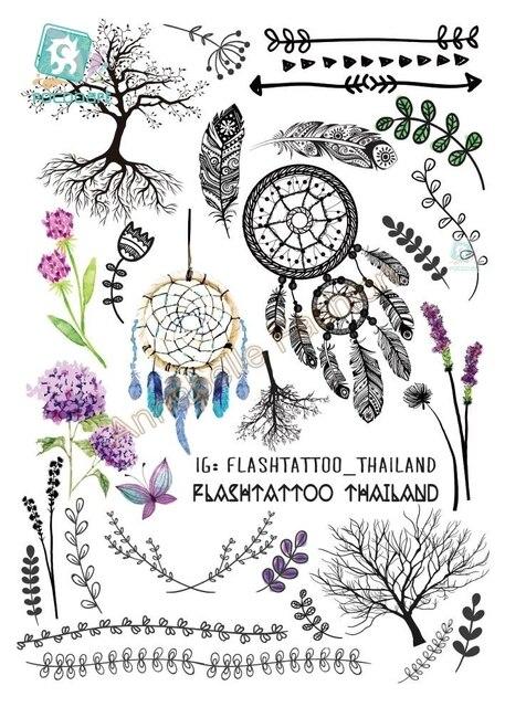 Rocoo Книги по искусству A6080-204 черный tatuagem Тати тела Книги по искусству Временные татуировки Стикеры s индейского племени Цветочный перо Дерево блеск татуировки Стикеры