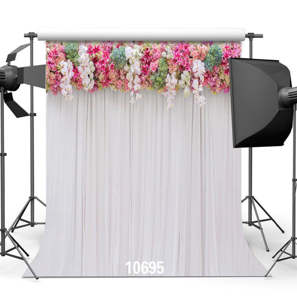 Pink Drapes Wedding Party Rose Floral Customized Vinyl Photography Backdrops Computer Printed Backgrounds for Photo Studio
