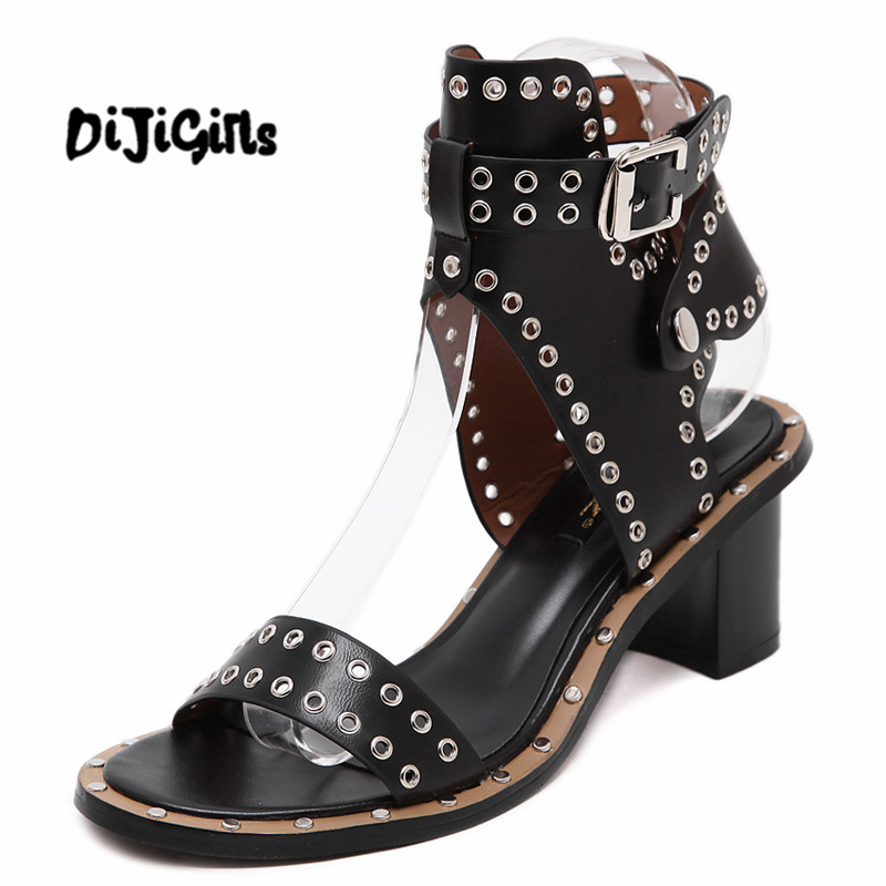2017 New Summer Shoes Woman Sandals Punk Rock Buckle Ankle Strap Rivets Motorcycle Shoes Block Chunky Med Heel Pumps Brown Black new hot sale fashion rivets flowers studs chunky heel women sandals ankle flowers buckle party office shoes woman casual sandals