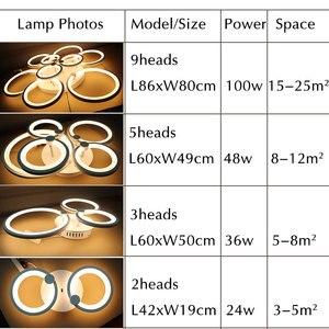 Image 5 - Wit & Zwart Moderne Led Kroonluchter Lustre Voor Woonkamer Licht Slaapkamer Eetkamer Acryl Plafond Kroonluchter Verlichting Armatuur