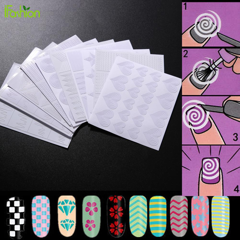 12 Sheet Hallow Out Stickers Nail Art Transfer Raised Grain Manicure Tips Decal Easy Use Manicure Nail Template Heart Flower diy template stickers for nails charms flower heart bow stamping nail art manicure guide