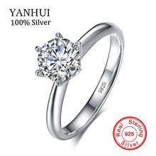 Купить с кэшбэком Authentic Jewelry 100% Original Solid 925 Silver Rings Set 7mm 1.5 Carat SONA CZ Diamond Engagement Wedding Ring For Women R-121