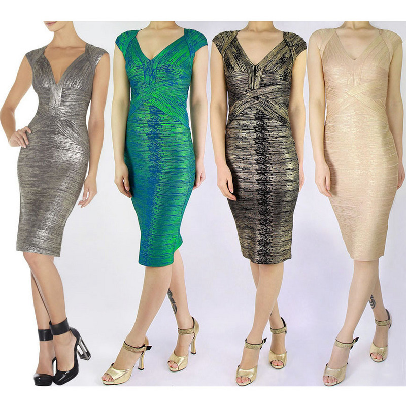 97a929257a6fe US $36.3 45% OFF|2015 sexy fashion high quality gold metallic v neck knee  length black green red silver white bandage dress prom party HL4255-in ...