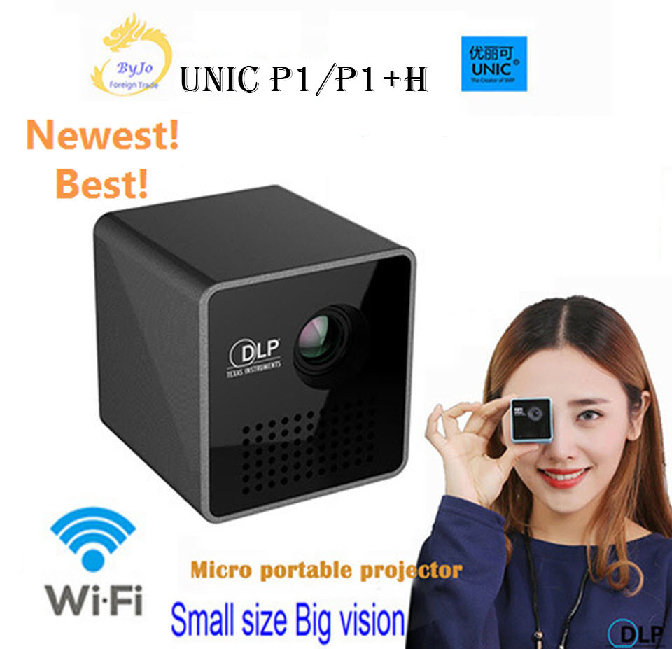 UNIC P1 série P1 + H Ou P1 Bolso projetor de Cinema Em Casa Projetor Proyector Beamer Mini projetor DLP mini projetor p1 + H wi-fi