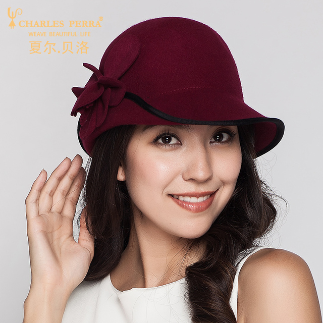 976c41abe71 Charles Perra Brand Women Hats Autumn Winter Fashion Hat Casual Elegant  Lady Wool Caps Keep Warm England Style Fedoras 5072
