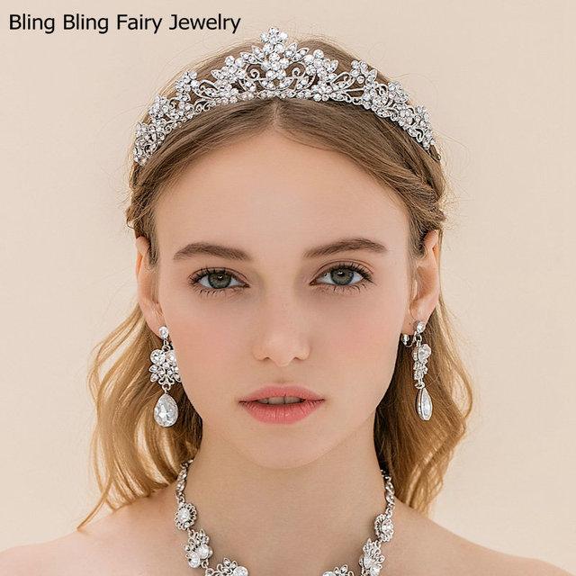 Nueva Clear Crystal corona nupcial brillante Diamante Tiara pelo de la boda accesorios, envío gratis