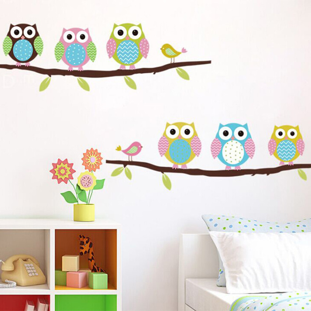 Cute Owl Wall Sticker Tree Stickers With Owls Wall Decals Animal Wall Art  Flower Wall Stickers