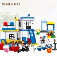 HM066 95PCS Models building Toy enlighten blocks DIY toys Early Learning Toys for Children Police Station Blocks for dduplo
