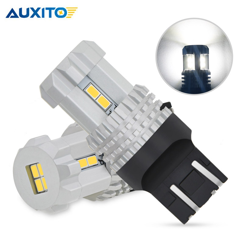 AUXITO <font><b>T20</b></font> <font><b>LED</b></font> CANBUS 7443 Errors free 7440 W21/5W <font><b>LED</b></font> Backup Reverse Lamp Daytime Running Lights 6000K White <font><b>Red</b></font> Car Lights 12V image