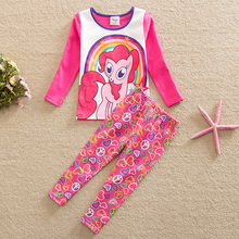 Flags spring autumn style rainbow my litter pony pattern stripe cotton long sleeve clothes pants baby girl suit set TZ16601