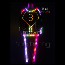 TC 125 Full color LED colorful lighted robot mens costumes led party dj wears ballroom disco
