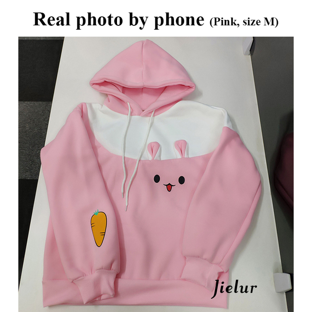 Jielur Hipster Kawaii Rabbit Cartoon Hoodie Kpop Japanese Hit Color Pink Sweatshirt Harajuku Fleece Warm Cute Winter Coat Women