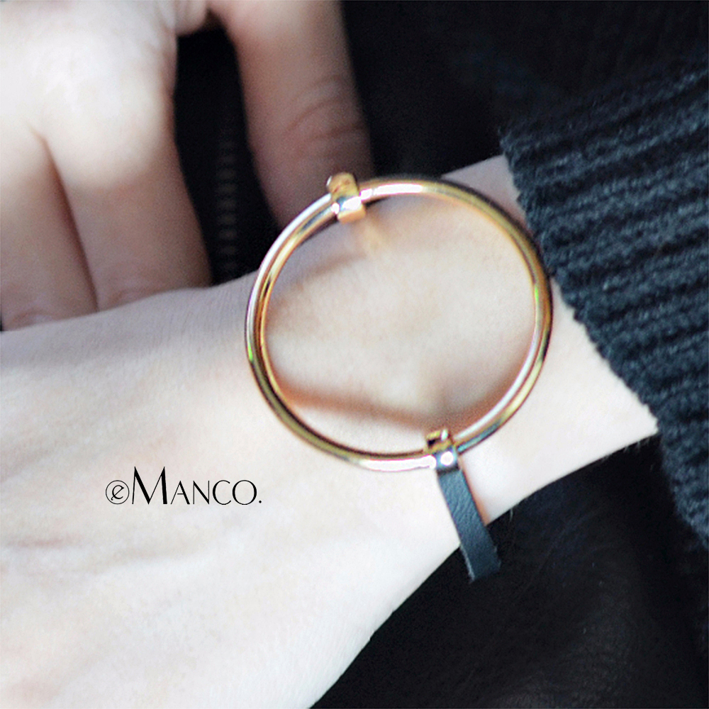 eManco Metal Round Bangle Minimalist Chain Bracelet Bracelets & Bangles Accessories For Women Gold-color Simple Geometric gorgeous rhinestone geometric chain bracelet for women