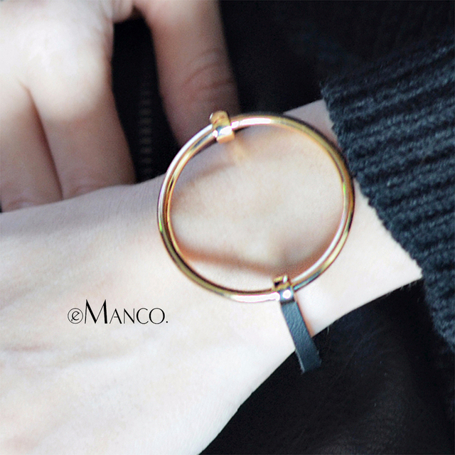 eManco Metal Round Bangle Minimalist Chain Bracelet Bracelets & Bangles Accessor