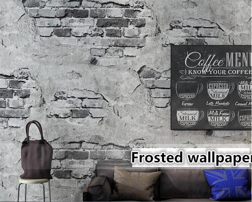 Beibehang Wallpaper untuk Dinding 3 D Retro Vintage Abu abu 3D Wallpaper Tembok Semen Bata Industri