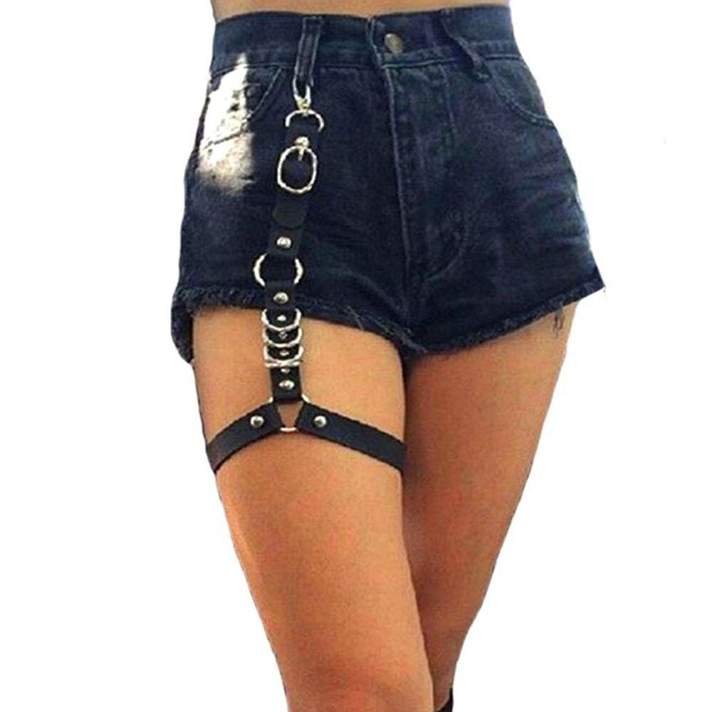 Sexy Women Harajuku Single Strap Clip Leather Punk Suspender Hook Adjustable Leg Ring Handmade Sock Garter Unisex Fashion