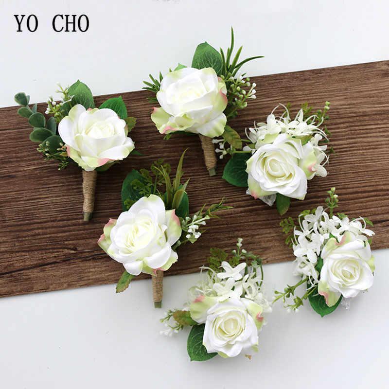Bracelet brown real flower-white
