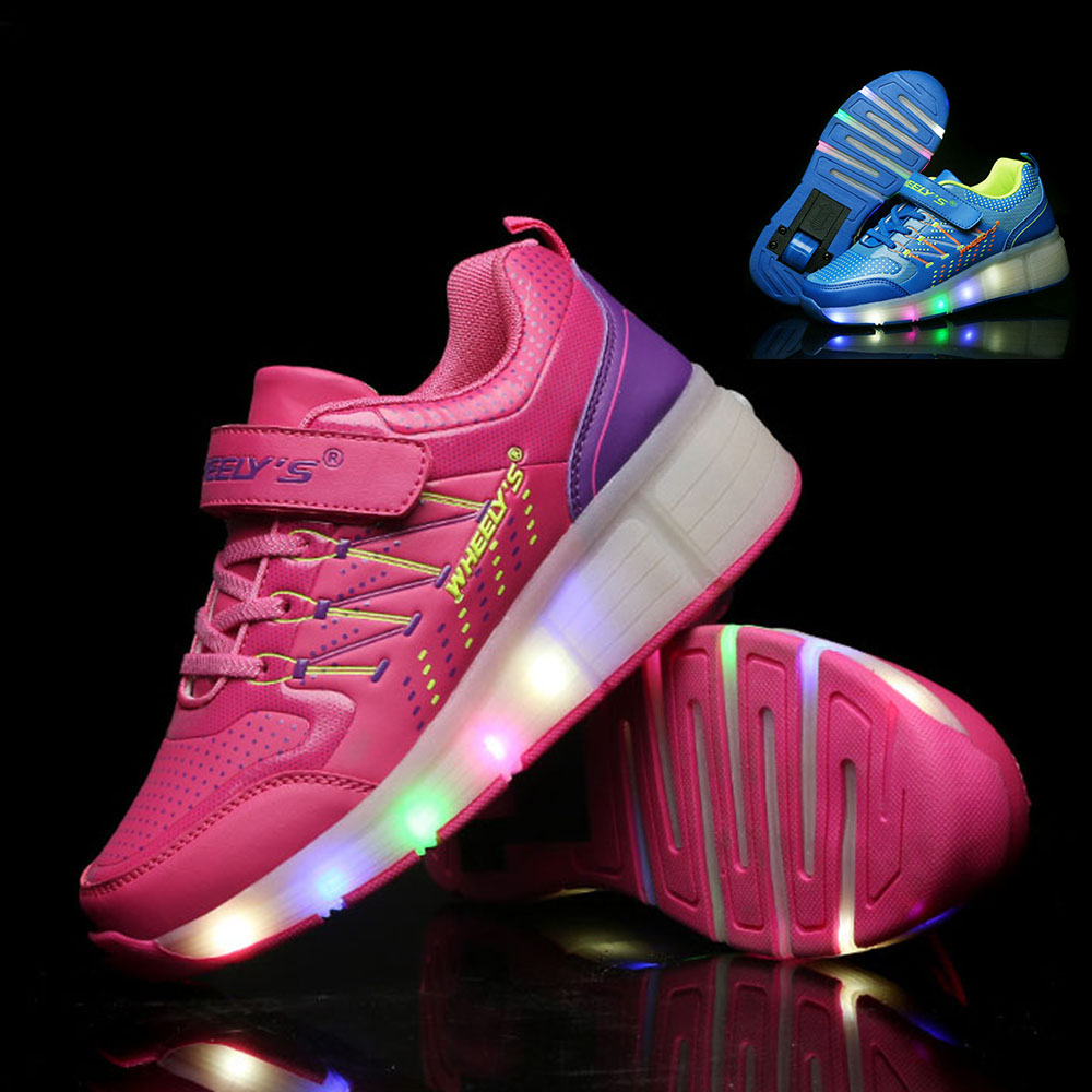 Roller shoes cheap - Kids Shoes Led Lights Children Roller Skate Shoes With Wheels Kids Glowing Sneakers Led Lights For