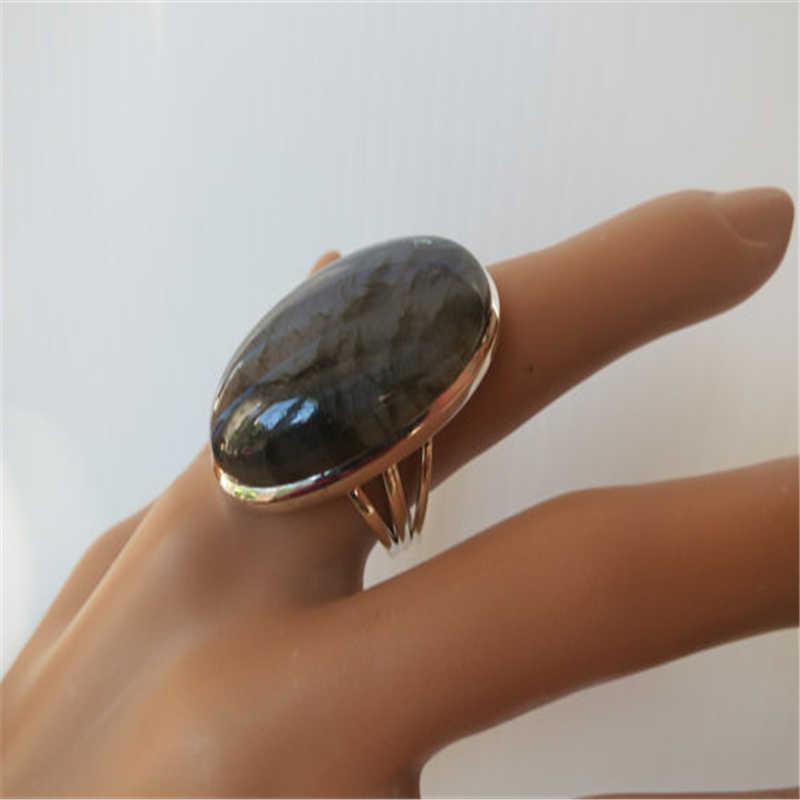 ขนาดใหญ่แหวนหินสีดำสำหรับผู้ชายผู้หญิงคลาสสิกโบราณ Silver Knuckle แหวน Bague Femme ชาย Anillos Anel L5J449