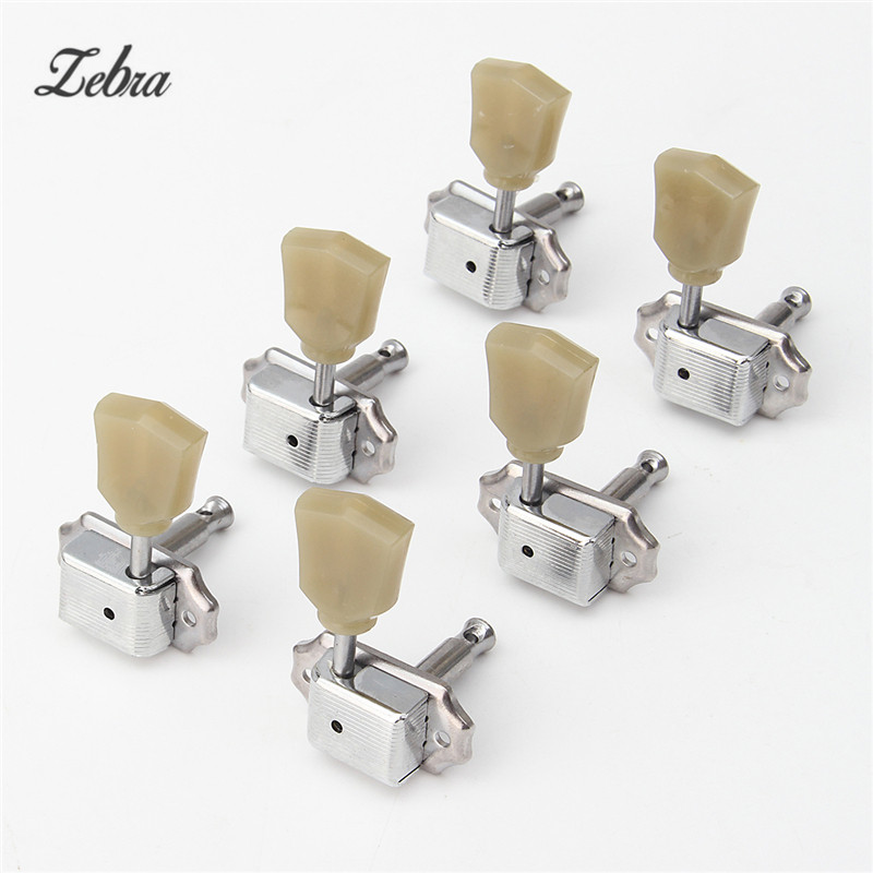 Zebra 3R+3L Guitar Tuning Peg Machine Heads Tuners Professional Durable Head For Acoustic Electric Guitar+6 Ferrules+12 Screws ostrlch machine tuners pegs with black or gold ferrules 3l 3r for acoustic electric guitars free shipping wholesales