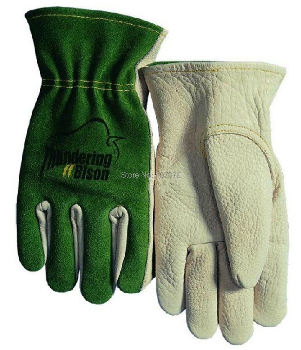 Leather Safety Glove Grain Cow Leather Driver Work Glove leather combined safety glove deluxe leather work glove