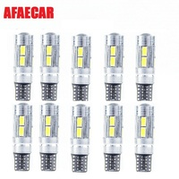 AFAECAR T10 LED canbus W5W 194 Interior White LED CANBUS NO OBC ERROR t10 10SMD 5630 5730 with Lens Projector