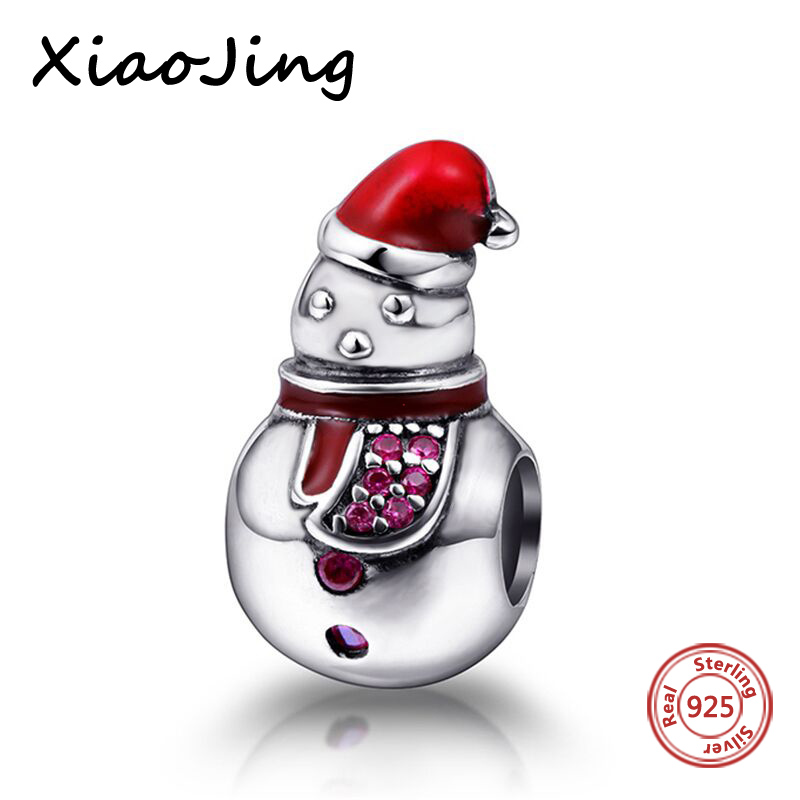 new arrivals 925 silver beads lovely snowman diy charms with color enamel fit original pandora charm bracelet jewelry making