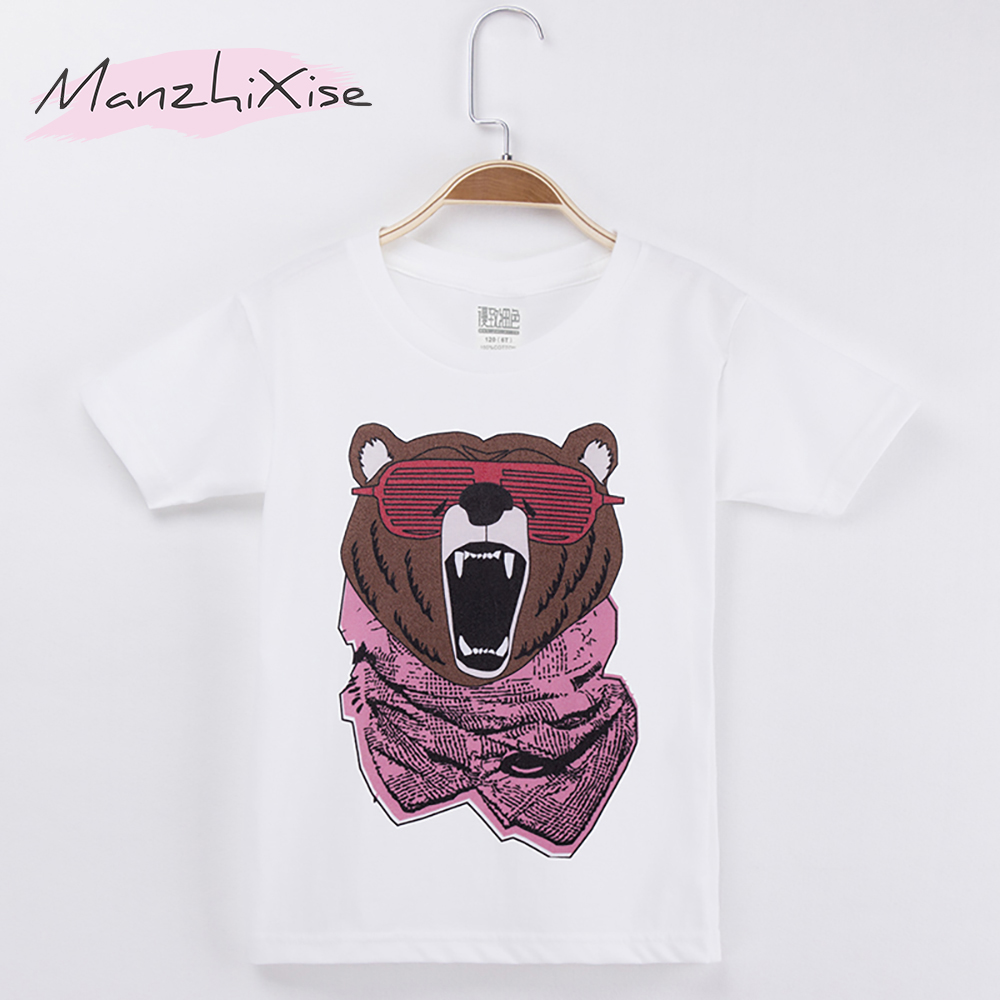 2018 New Fashion Kids Clothes Chidren T-shirts Bear Print 100% Cotton Boy Chid Short Sleeves T Shirt Baby Girl Tops Tee Unisex