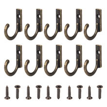 10 Uds. Colgadores de llaves de bronce envejecido para puerta de pared, colgadores de llaves para sombrero, abrigo, bolsa, ganchos para bata, pequeños colgantes decorativos Vintage