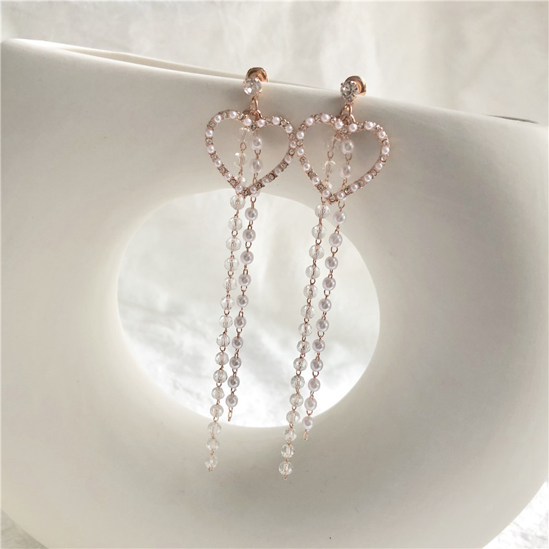 Fairy Beauty Temperament Love Pearl bead Tassel Earrings Female Long heart  korean earrings