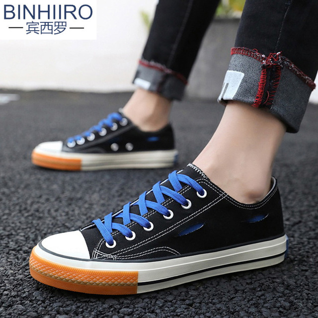 Brand Men's Vulcanized shoes Color lacing Personality Design flat Casual shoes 2019 Spring New High quality Canvas shoes male