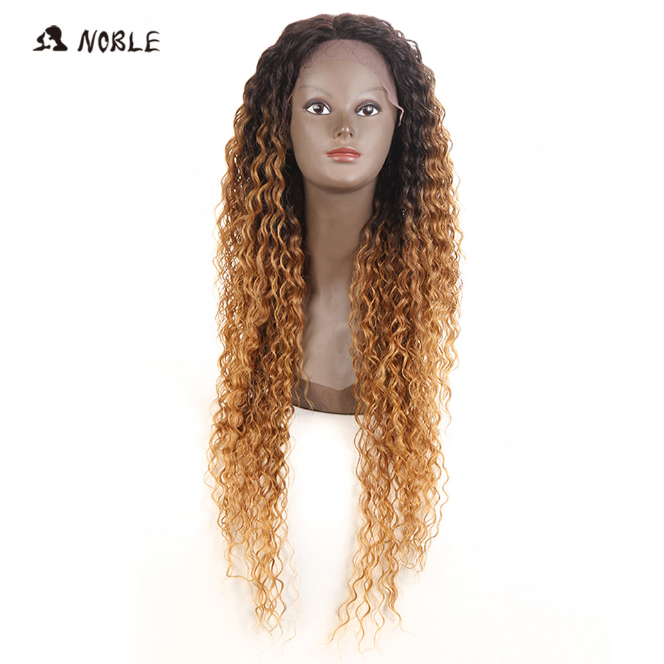 Noble Hair Lace Front Wig 30 Inch Long Curly Wave Dark Root Synthetic Wigs For Black Women 2 Colors Available Free Shipping