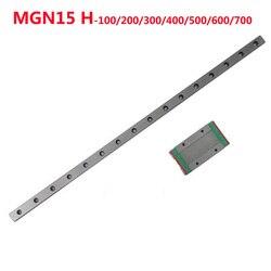 1PC prowadnica liniowa MGN15 szerokość 15mm długość 100 200 300 400 500 600 700 mm + 1PC liniowy blok MGN15H