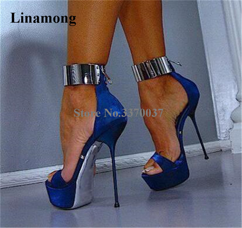 Sexy Women Fashion Blue Suede Leather High Platform Stiletto Heel Sandals Ankle Metal Wrap Super High Heel Sandals Dress Shoes elegant women s sandals with suede and stiletto heel design