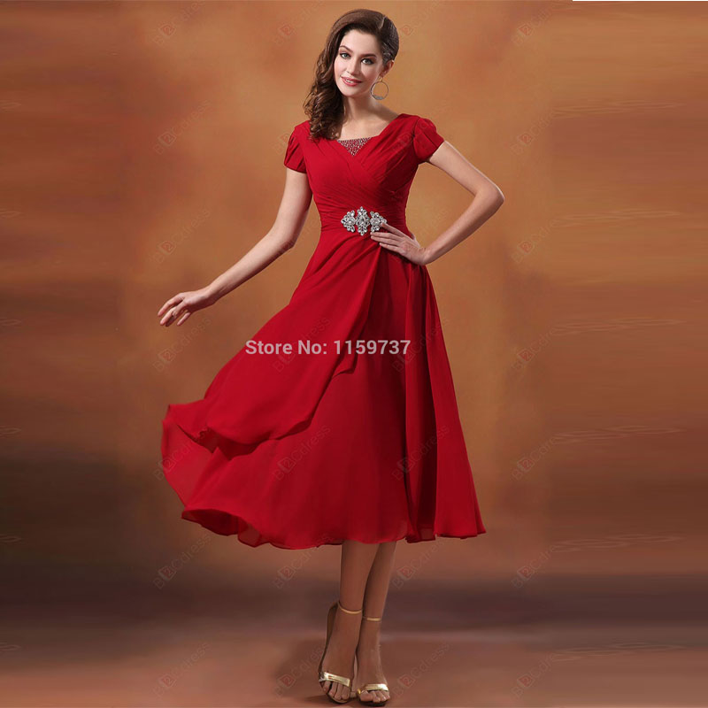 Popular Modest Red Bridesmaid Dress-Buy Cheap Modest Red ...