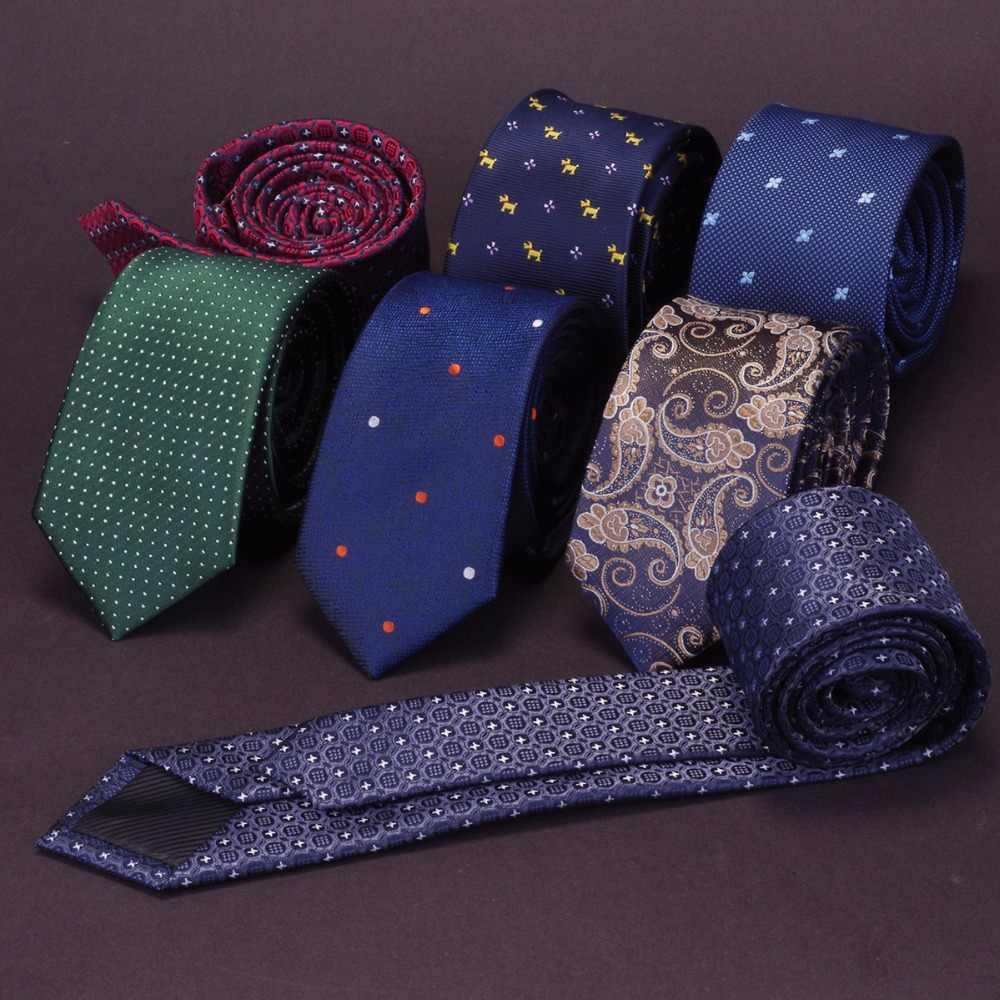 Ricnais Quality Slim Tie Mens 6cm Necktie business Red Green wedding tie gift gravata JACQUARD WOVEN Skinny Ties For Men