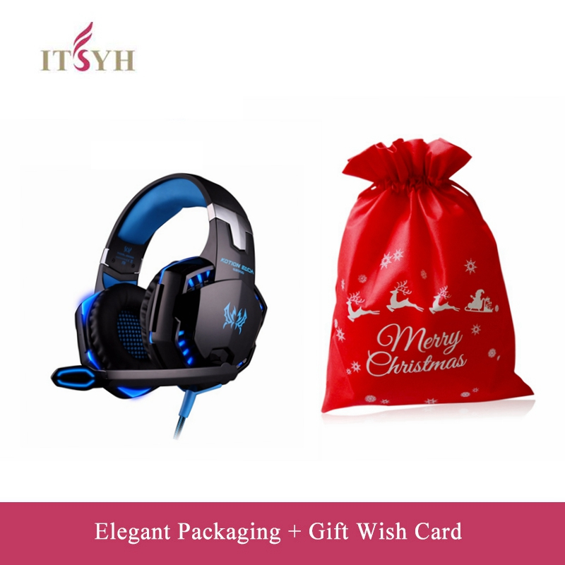 ITSYH G2000 Gaming Headset Big Headphones LED light with Mic Stereo ps4 headset Deep Bass for PC Computer Gamer Tablet LF03-027 ndju g9000 bass gaming headphone ps4 headset earphone with 3 5mm led light player gamer headphones with mic for pc laptop phones