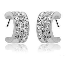 цена на Free shipping 2013 new arrival full star super shiny zircon & 925 sterling silver & platinum plated female clip earrings jewelry