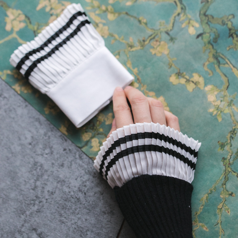 Autumn Gloves Women's Knitting Leisurely Women's Winter Beautiful Goddess Elegant Romantic Pearl Lace Arm Warmers Women Gloves