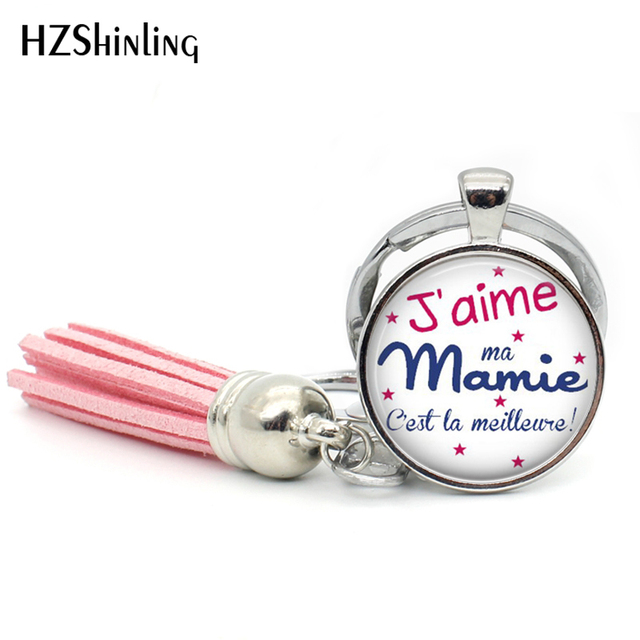 8e144d10995bd US $1.54 45% OFF|TAK 112 Fashion Jaime Mamie Tassel Key Chain Handmade je  suis une Mamie Jewelry Glass Cabochon Super Mamie Keyring for Women-in Key  ...