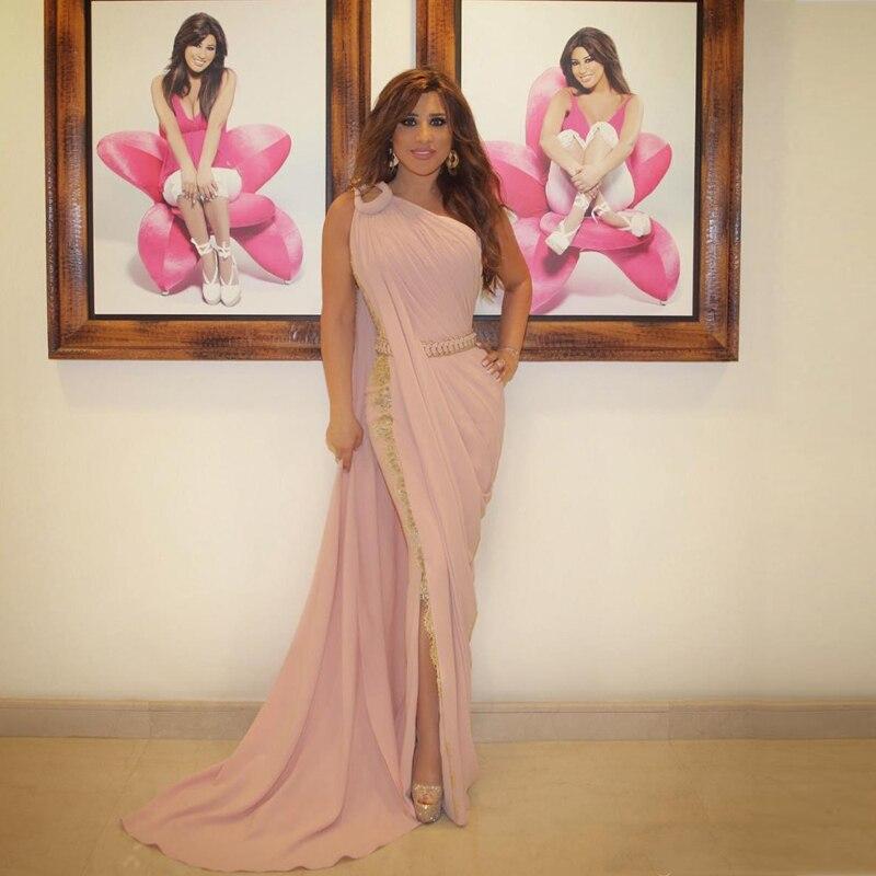 One Shoulder Pink Lebanon 2018 Indian Saree Side Split