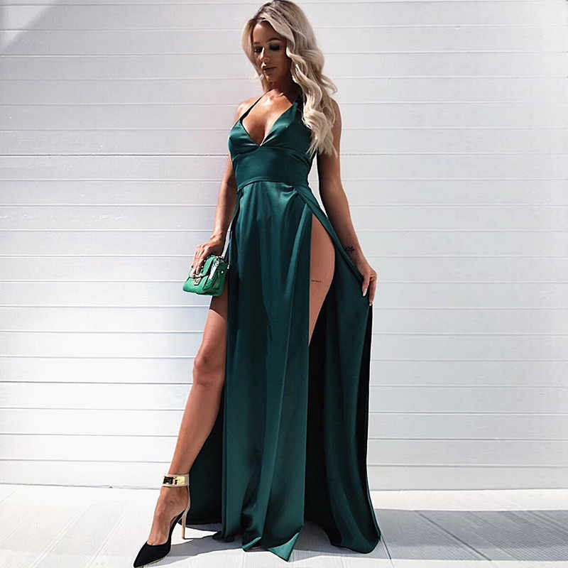 2592d6c8ca1 ... high waist sexy double slit dresses satin evening party gowns green red  pink maxi dresses night ...